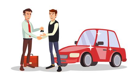 male symbol: Car Dealer Man Vector. Automobile Sales Agent. Selling Or Rent A Car. New Machine. Flat Business Cartoon Illustration Illustration