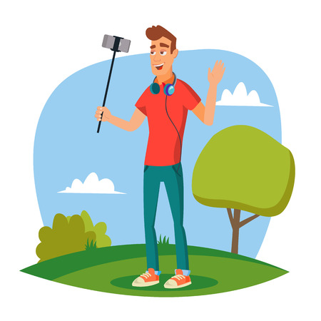 Video Blogger Vector. Modern Blogger Recording Video Blog, Vlog. Blogger Shoots Video. Cartoon Character Illustration Vettoriali