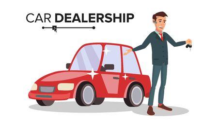 プロフェッショナルな自動車ディーラーのベクトル。幸せの専門の自動車セールスマン。選択し、車を販売します。白い漫画キャラ イラストに分離