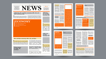 white sheet: Newspaper Design Template Vector. Financial Articles, Advertising Business Information. World News Economy Headlines. Blank Spaces For Images. Isolated Illustration