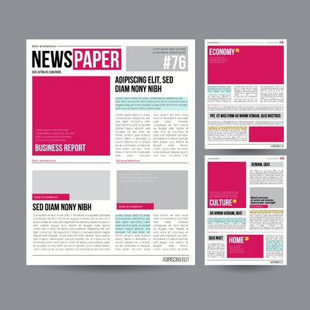 Tabloid newspaper design template vector on gray background. 向量圖像