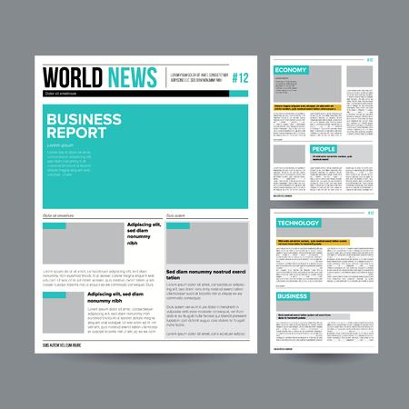Boulevardzeitung Design Template Vektor. Bilder, Artikel, Geschäftsinformationen. Tageszeitung Journal Design. Illustration Standard-Bild - 87575182