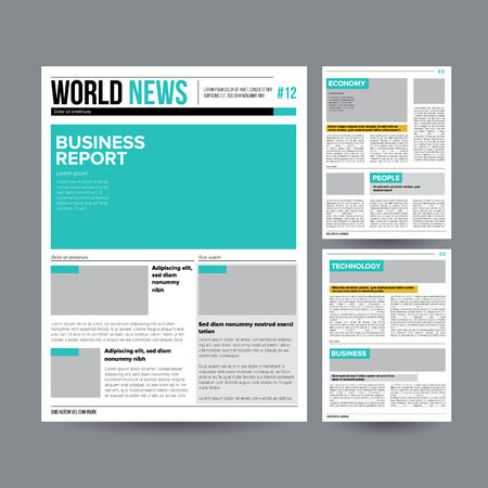 Tabloid Newspaper Design Template Vector. Images, Articles, Business Information. Daily Newspaper Journal Design. Illustration