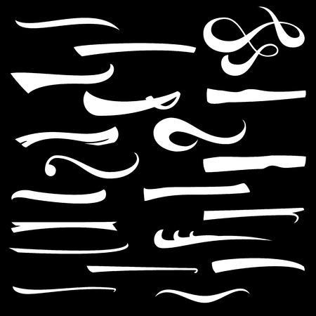 Marker, Underline, Highlighter Marker Strokes, Swoops, Waves Brush Marks Set. Hand Lettering Lines Isolated On White. Typographic Design. Vintage Elements. Vector Illustration Vectores