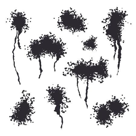 Spray Black Ink Splash Vector. Ash Particles. Spray Effect. Noise Ink Backdrop Illustration