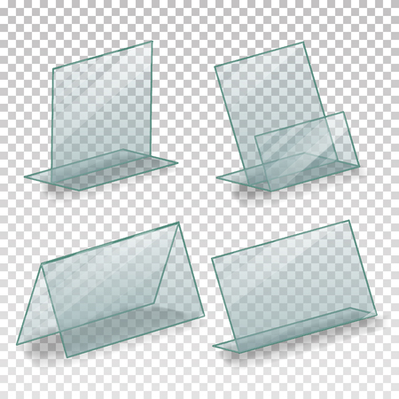 Table Blank Plastic Stand Holder Vector. Empty Business Information Plexiglass Holder. For Menu Paper Calendar Card. Isolated Illustration Reklamní fotografie - 87685938
