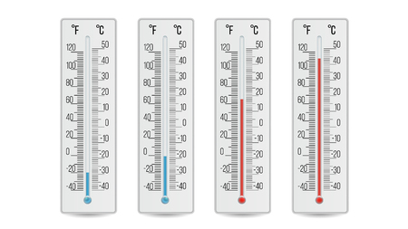 Indoor Home Office Thermometer Vector. Hot And Cold Temperature. Isolated Illustration Illustration
