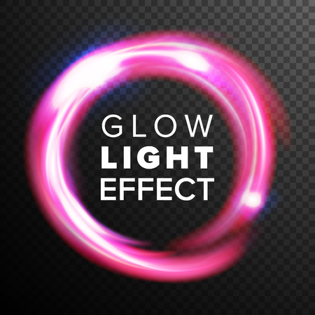 Red Circles Glow Light Effect Vector. Energy Line Neon Swirl Ray Streaks. Abstract Lens Flares. Design Element For Technology Future Concept. Isolated On Transparent Background
