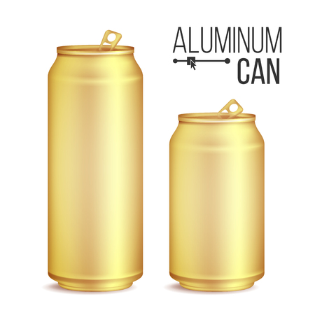 tin packaging: 3d Cans Set Vector. Gold, Yellow Can. Beer, Lager, Alcohol, Soft Drink, Soda. 500 And 300 ml. Isolated On White Background Illustration Illustration