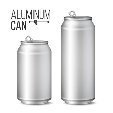 빈 금속 수 벡터입니다. 은 수 있습니다. 3D 포장. 맥주 또는 청량 음료에 대 한 금속 캔을 모의. 500 및 300 ml. 흰색에 고립 된 그림