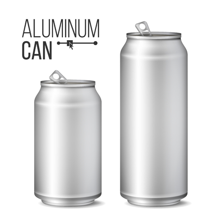 Blank Metallic Can Vector. Silver Can. 3D packaging. Mock Up Metallic Cans For Beer Or Soft Drink. 500 And 300 ml. Isolated On White Illustration