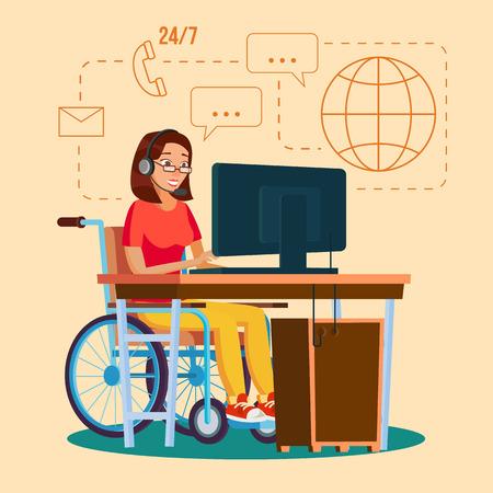 Gehandicapte Vrouw Werkende Vector. Socialisatie Concept. Rolstoel met persoon. Geïsoleerde Flat Cartoon karakter illustratie