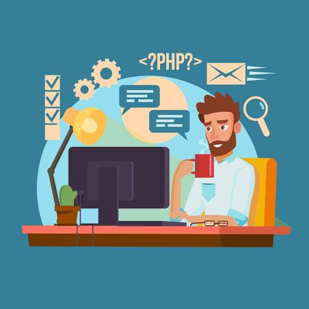 プログラマー男ベクトル。クラシックのプロのプログラマ男コーディングします。ソフトウェア プログラマがコードを入力します。フラット漫画イ