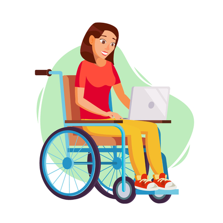 impaired: Disabled Woman Person Working Vector. Woman Sitting In Wheelchair. Disabled And Recovering. Flat Cartoon Illustration Illustration