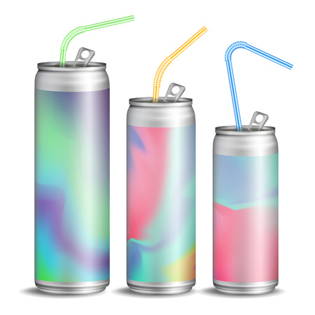 Realistic Metallic Can Vector. Soft Energy Drink. 3D Template Aluminium Cans. Colorful Drinking Straws. Different Types. Good For Branding Design. 500, 300, 250 ml. Isolated Illustration Illusztráció