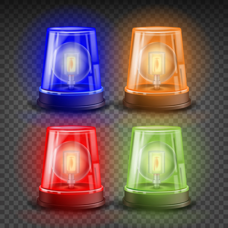 Realistic Flasher Siren Set Vector. Red, Orange, Green, Blue. 3D Realistic Object. Light Effect. Rotation Beacon. Emergency Flashing Siren. Isolated On Transparent Background