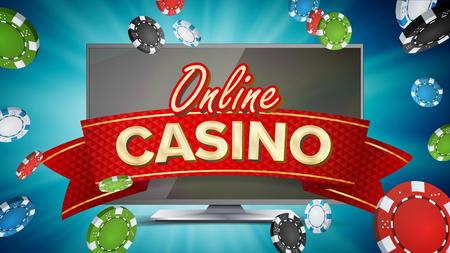 オンライン カジノ ポスター ベクトル。現代のコンピューター モニターという概念。ジャック ポットの看板、高級図をマーケティングします。