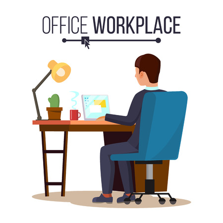 Office Workplace Concept Vector. Business Man Or Clerk Working At Office Desk. Flat Style Color Modern Vector Illustration