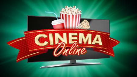 Online Cinema Vector. Banner With Computer Monitor. Popcorn, 3D Glasses, Film-strip Cinematography. Online Movie Banner Sign. Bright Poster. Illustration