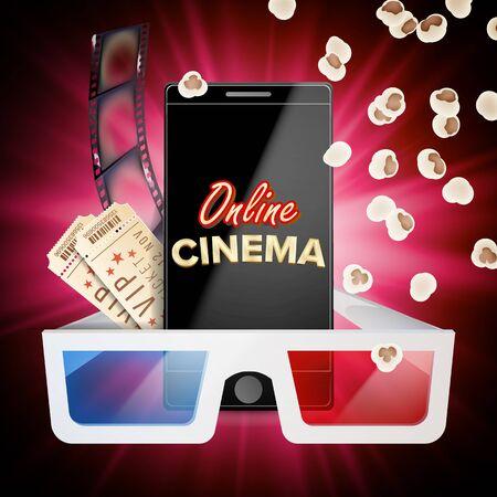 Online Cinema Vector. Banner With Mobile Phone. 3D Online Cinema Concept. Template For Web Cite, Ads, Poster. Flyer Or Poster. Film Industry. Illustration