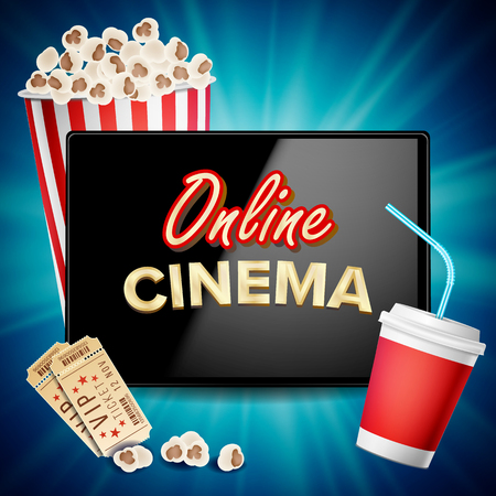 online cinema vector banner with tablet cinema concept design