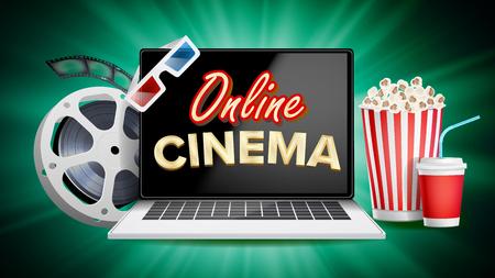 Online Cinema Vector. Banner With Laptop. Film Industry Elements. Film Tape For Cinematography. Billboard, Promo Concept Illustration.