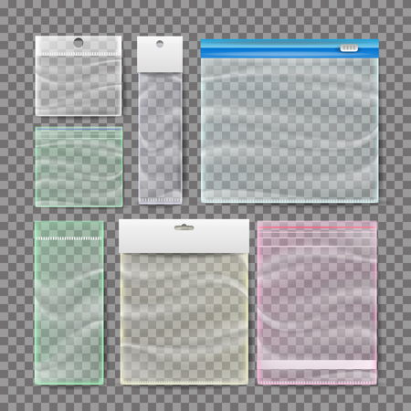 Bolsas de bolsillo de plástico transparente.