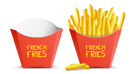 Realistic French Fries Vector. Red Paper Package. Empty And Full. Isolated On White Illustration Stock Illustratie