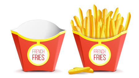 Realistic French Fries Potatoes Vector. Tasty Fast Food Potato. Empty And Full. Isolated On White Background Illustration