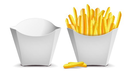French Fries Vector. White Empty Blank Paper Bag. Fast Food Icons Potato. Empty And Full. Isolated Illustration Illustration