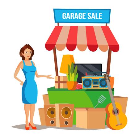 yard sale: Garage Sale Vector. Assorted Household Items. Flat Cartoon Illustration