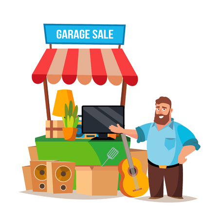 Garage Sale Vector. Assorted Household Items. Flat Cartoon Illustration