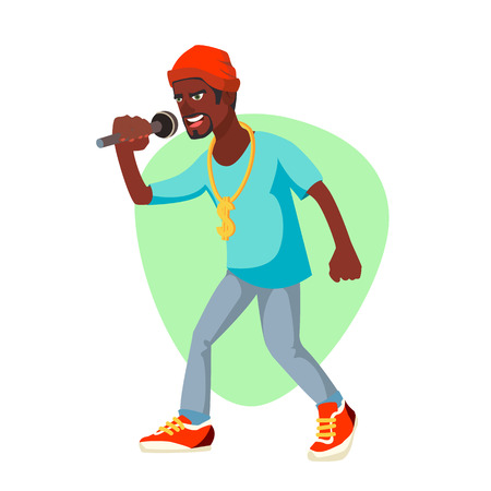 Professional Rapper Vector. Male Singer With Microphone. Cartoon Character Illustration Illustration