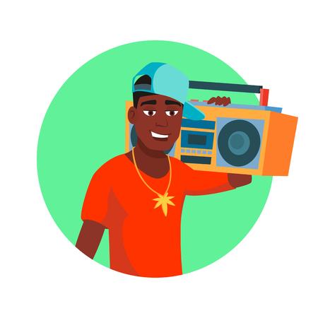 Classic Rapper Man Vector. Modern Musician. Flat Cartoon Illustration