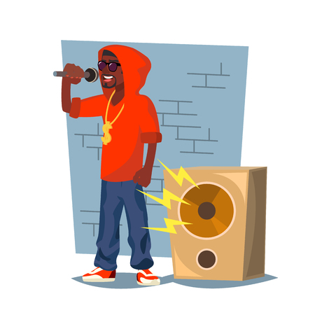 Professional Rapper Vector. Male Singer With Microphone. Cartoon Character Illustration Çizim