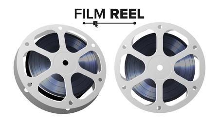 フィルム リールのベクトル。レトロな映画オブジェクト。古典的なツイスト映画テープ。孤立した図。