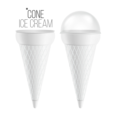ice cream cone template vector for dessert yogurt plastic