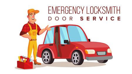 Car Locksmith Worker Service Vector. Classic Serviceman. Isolated On White Cartoon Character Illustration 일러스트