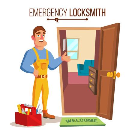 Locksmith Door Service Vector. Professional Master Repairman. Isolated Flat Cartoon Character Illustration