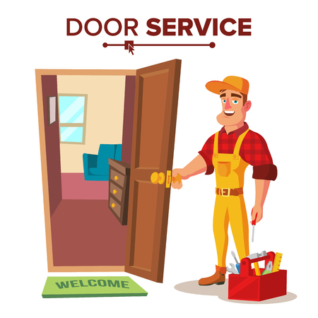 Emergency Locksmith Service Vector. Professional Locksmith Mechanic Work. Flat Cartoon Illustration