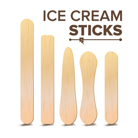 Ice Cream Sticks Set Vector. Different Types. Wooden Stick For Ice cream, Medical Tongue Depressor. Isolated On White Background Illustration
