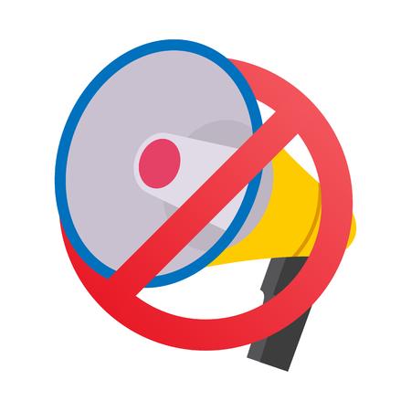 Pas de mégaphone, pas de vecteur de signe d'interdiction des enceintes. Appartement isolé sur illustration blanche. Aucun concept de bruit. Élément de dessin animé Banque d'images - 88462117