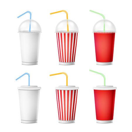 Vector de plantilla de taza de soda. Las tazas disponibles de papel realista 3d fijaron para las bebidas con la paja de beber. Aislado en el fondo blanco. embalaje Ilustración de vector