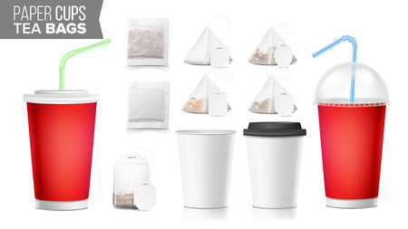 Realistic Blank Ocher Paper Cups Vector. Tea Bags Mock Up. Coffee Cup Blank. Soda, Soft Drinks Cup Template. Tube Straw. 3D Object Isolated On White. Fast Food Illustration