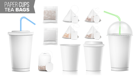 Take-out Ocher Paper Cups, Tea Bags Mock Up Vector. Big Small Coffee Cup. Cola, Soft Drinks Cup Template. Tube Straw. 3D Cardboard Object. Isolated Illustration Ilustrace