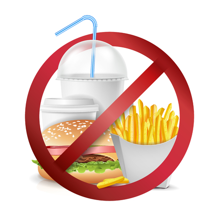 Comida rápida peligro etiqueta Vector. No se permiten alimentos ni bebidas. Ilustración realista aislada.
