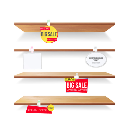 Supermarket Shelves, Advertising Wobblers Vector. Retail Sticker Concept. Best Offer. Discount Sticker. Sale Banners. Isolated Illustration