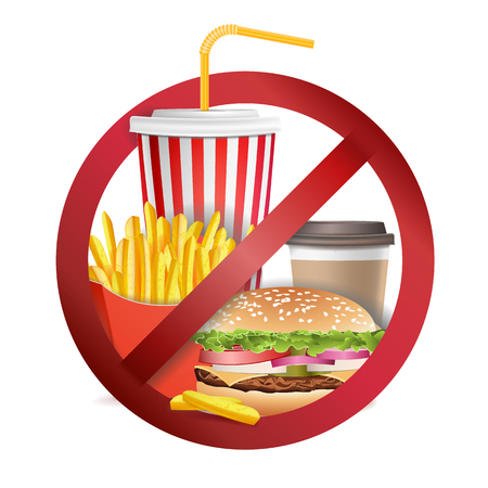 Fast Food Danger Vector. No Food Allowed Symbol. Isolated Realistic illustration.