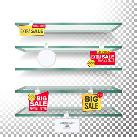Empty Shelves, Advertising Wobblers Vector. Retail Concept. Discount Sticker. Sale Banners. Isolated Illustration