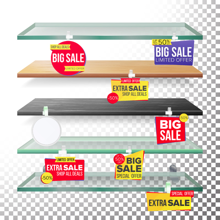 Empty Supermarket Shelves, Wobblers Vector. Price Tag Labels. Selling Card. Discount Sticker. Sale Banners. Isolated Illustration